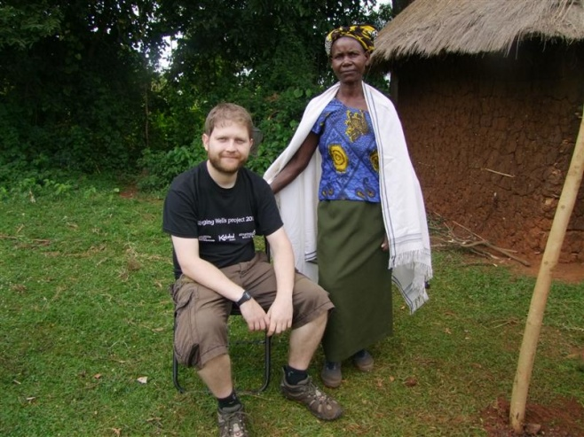 Andy Patterson (Abubilla Music) with villager from Kisumu