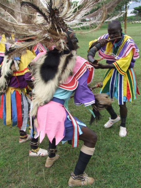 Horn player from Kochia Dancers, Homa Bay, Kenya