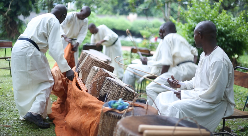 Musisi's work: drummers setting up to perform