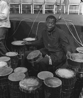 The blind drummer of Tanzania, Morris Nyunyusa played during the whole opening ceremony, 1975, Artist: